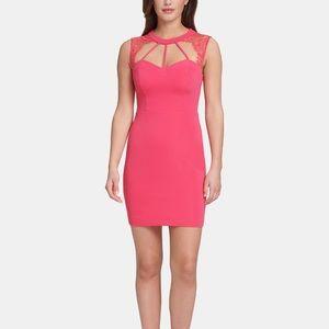 NWT Guess lace trim Bodycon dress sz 10 pink